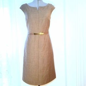 Tory Burch Stretch Wool Belted Suit Dress Taupe 8